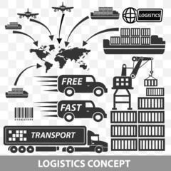 Logistics and transport icons,vector