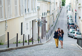 Couple walking in Paris together