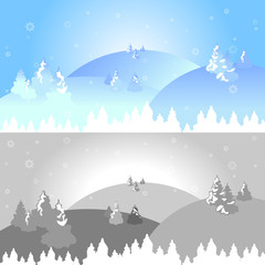 Winter landscape background collection