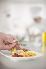 closeup on chef's hands garnishing a plate