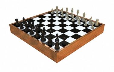 Schachspiel Startaufstellung perspektivisch freigestellt