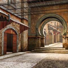 Orientalna ulica z dwoma bramami