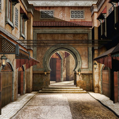 Starożytna orientalna ulica z wiszącymi lampami