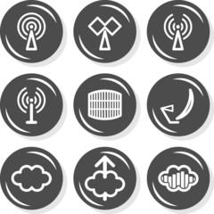 antena sieć przepływ informacji zestaw okrągłych ikon