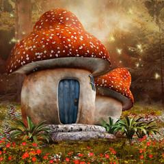 Obraz Baśniowy domek z muchomora - fototapety do salonu