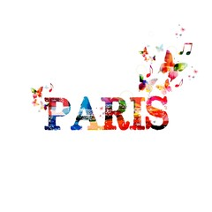 """Colorful vector """"Paris"""" background with butterflies"""