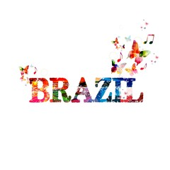 """Colorful """"Brazil"""" background with butterflies"""