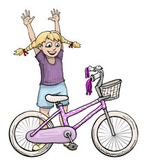 girl with pink bicycle