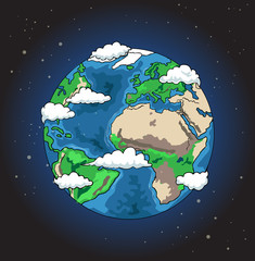 Hand drawn planet earth