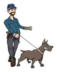 security guard with a dog, and a flashlight