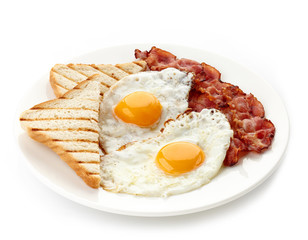 Photo sur Toile Ouf Breakfast with fried eggs, bacon and toasts
