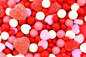 Valentines Day background of red, pink and white candies