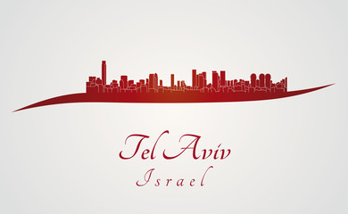 Tel Aviv skyline in red
