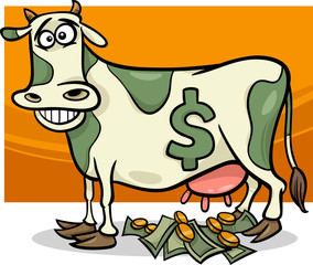 cash cow saying cartoon illustration