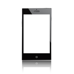 Smartphone blank screen. Isolated on white