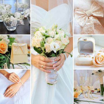 Wedding collage pastel, gentle tones