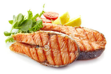 Poster Fish fresh grilled salmon steak slices