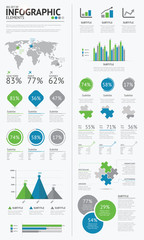 Big set of infographic business elements blue green vector EPS10