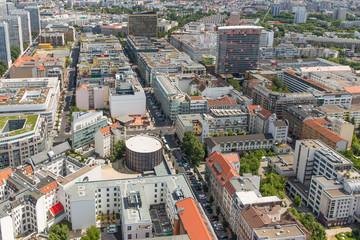 Aerial view of apartment buildings in Berlin, Germany
