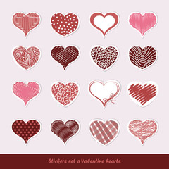 Set of stickers Valentine hearts