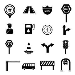 transportation icon set, traffic signals set