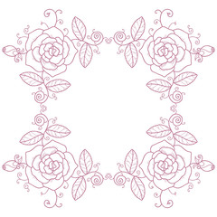 Delicate vignette with roses and swirls on a white background