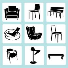 chair set, interior decoration set, furniture icons