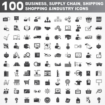 business, supply chain, shipping, shopping and industry icons