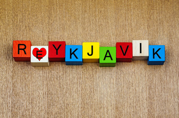 I Love Reykjavík, Iceland, sign series for travel and holidays