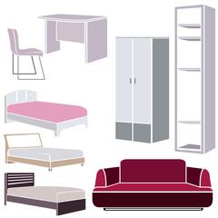 interior design icons, furniture set