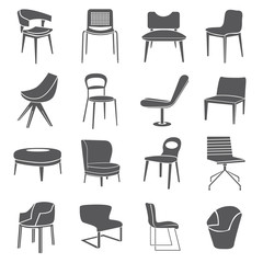 chair set, furniture icon set