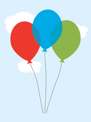 Simple Retro balloons in blue, red and green