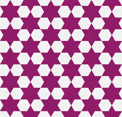 Dark Pink and White Hexagon Patterned Textured Fabric Background