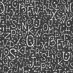 vector chalkboard alphabet letters seamless pattern background