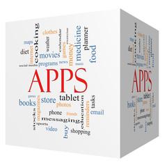 Apps 3D Cube Word Cloud Concept