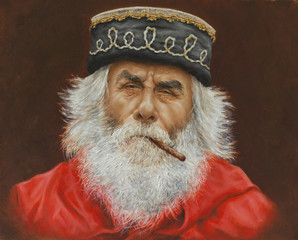 oil painting on canvas of a senior Garibaldi