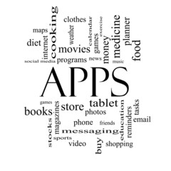 Apps Word Cloud Concept in black and white