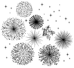 vector black fireworks