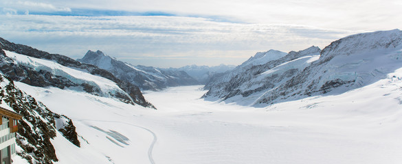 Panorama Scenic of Great Aletsch Glacier Jungfrau region