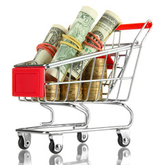 shopping trolley with dollars and Ukrainian coins, isolated