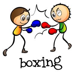 Two stickmen boxing