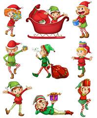 Playful Santa elves