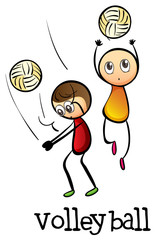 Stickmen playing volleyballs