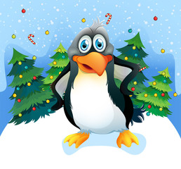 A penguin near the christmas trees