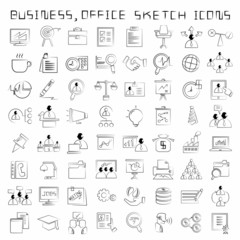 sketched human resource and business icons, drawing style