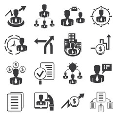 organization management icons, business management icons set