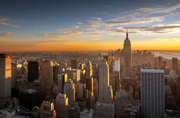 Sunset over new york city Wall mural