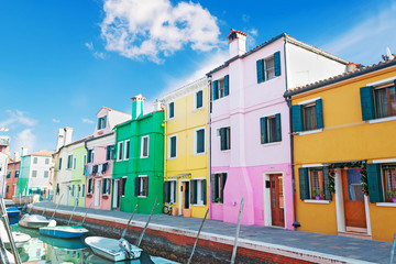 colorful houses by the canal