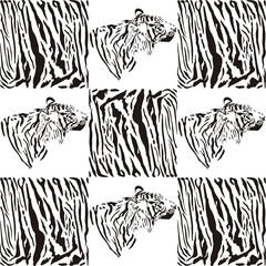 Tiger patterns for textiles and wallpaper