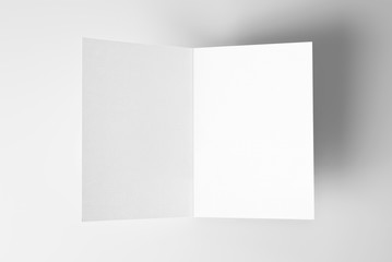Blank open card over grey background